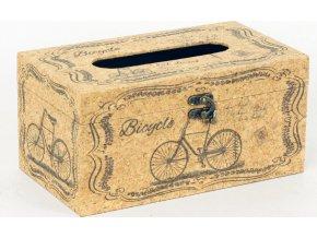Krabička na papírové kapesníky | dřevěná | přírodní korek | bicykl