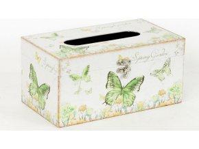 Krabička na papírové kapesníky | dřevěná | plátno s potiskem motýlů
