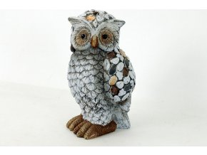Sova s kamínky | MgO keramika | zahradní dekorace