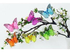 Pestrobarevný motýl s klipem  | 8cm| sada 12ks