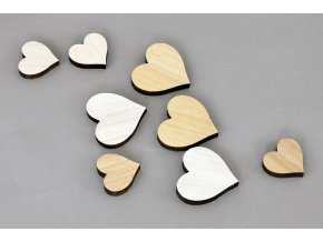 Srdíčko | dřevěná dekorace | mix | sada 8ks