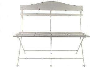 Kovová skládací lavička, bílá