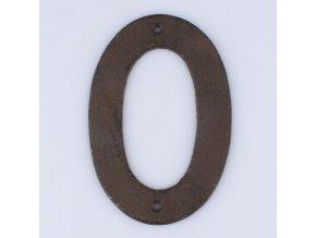 Litinové číslo 0 na dům černé 17×11×5cm