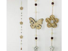 Girlanda, dřevěná dekorace na pověšení, mix kytička, motýlek  cena za 1 kus