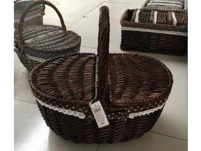 Košík proutěný oválný | dekorační látka