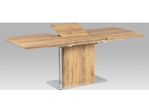 Rozkládací jídelní stůl |160+50x90cm | 3D folie dekor dub | broušený nerez