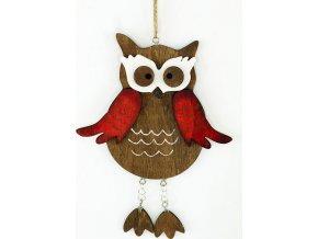 Dřevěná sovička |  dekorace na zavěšení