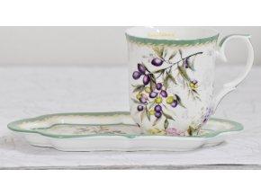 Hrnek s podtalířkem Olive | porcelán | 300ml