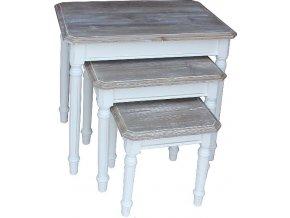 Květinový stolek | Provence | bílé | 3ks