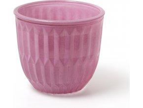 Skleněná váza | růžová | větší | 13x13x12cm