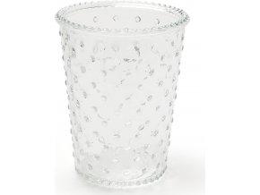 Váza skleněná | reliéf | čiré sklo | 18x18x30cm