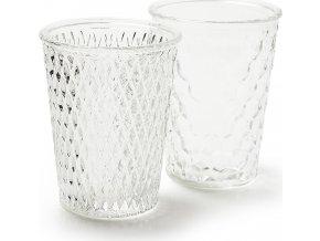Skleněná váza   čiré sklo   reliéfní vzor   sada 2ks   10x10x13 cm