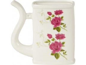 Dóza na pití | porcelán | s květy | 12.8x4.2x13cm
