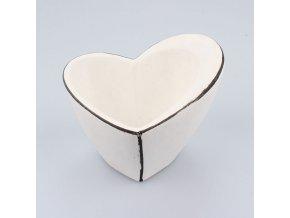 Květináč bílý srdce 18×12×15cm