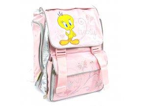 Školní batoh Tweety 2 spony růžová
