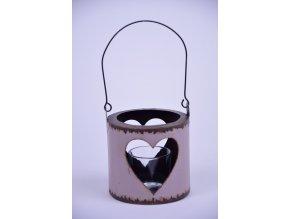 Lucerna srdce růžová 12,5x27cm