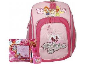 Školní batoh Cool Cherry set motiv Winx: ořezávátko, pero, poznámkový bloček