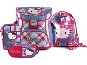 Školní set | Hello Kitty | kostkovaný jeans | 4ks