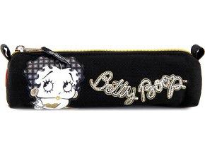 Školní penál | Betty Boop | oválný | černý se zlatým zipem