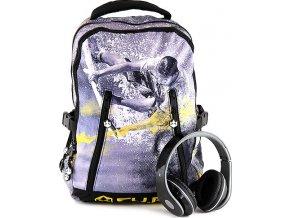 Studentský batoh | CU.BE | se sluchátky | se žlutou
