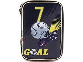 Školní penál s náplní Goal jednopatrový, černý