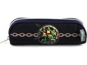 Školní penál bez náplně TMNT černo/modrý, s motivem želvy Ninja