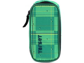 Školní penál Target zelený se žlutými proužky