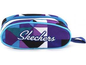 Školní pená bez nápln Skechers fialovo/modrý s trojúhelníkovým motivem a bílým nápisem Skec
