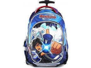 Školní batoh trolley Monsuno modrý s motivem chlapce Monsuno, s červeným nápisem Monsuno