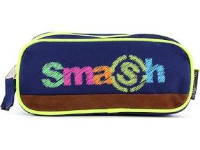 Školní penál | bez náplně | Smash | 2 kapsy | modrý/neonově žlutý