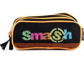 Školní penál | bez náplně | Smash | 2 kapsy | černý/neonově oranžový