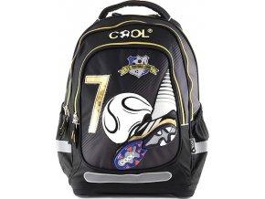 Školní batoh Goal černý se zlatým zipem Cool