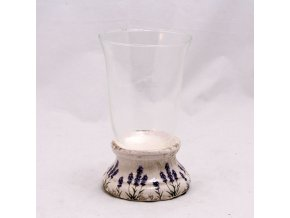 Svícen se sklem s motivem levandule 10x16,5x10cm