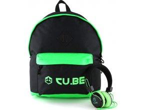 Target Batoh se sluchátky CU.BE Černý s neonově zelenými doplňky
