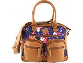 Taška přes rameno Target Marshmallow/barevné květy, hnědá koženka