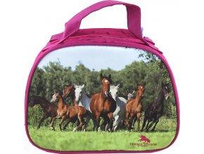 Kosmetická taštička | Horses Dreams | Růžová | s obrázkem stáda koní