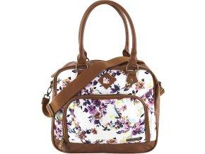 Taška přes rameno Target Marshmallow/fialové květy, bílá