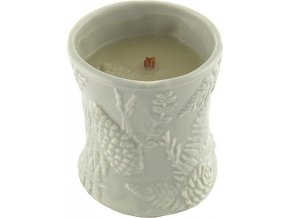 Svíčka | keramická oválná váza | WoodWick | Oheň v krbu | 142g