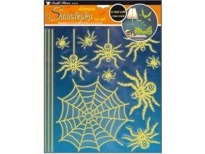 Samolepky na zeď pavouci svítící ve tmě 38x30cm
