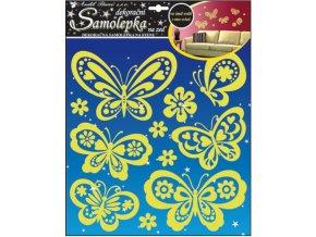 Samolepky na zeď motýlci svítící vě tmě 38x31cm
