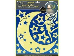 Samolepky na zeď víla s hvězdičkami svítící ve tmě 31x29cm