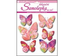 Samolepky na zeď motýli s květinovým dekorem 3D 30x22x1cm