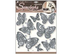Samolepky na zeď motýli s černou glitrovou konturou zrcadlové 40x31cm