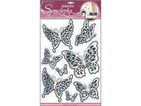 Samolepky na zeď motýli s černým glitrem zrcadlové 50x30cm