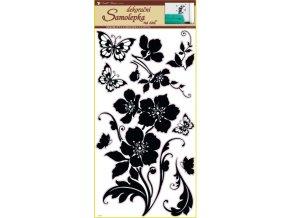 Samolepky na zeď květina s motýly černá 69x30cm