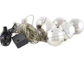 Vánoční ozdoby Europalms stříbrné, 6 ks, s LED