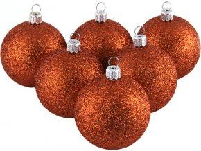Vánoční ozdoba Europalms Vánoční dekorační ozdoby, 6 cm, měděný se třpytkami, 6 ks
