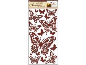Samolepky na zeď motýli hnědí 69x32cm