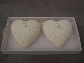 Svíčka srdce s malovanými růžemi bílé 2ks 8cm
