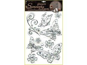 Samolepky na zeď motýli se stříbrnou konturou a kamínky plastická 49x29cm
